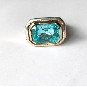 Vintage Faux Aquamarine Silver Tone Cocktail Ring